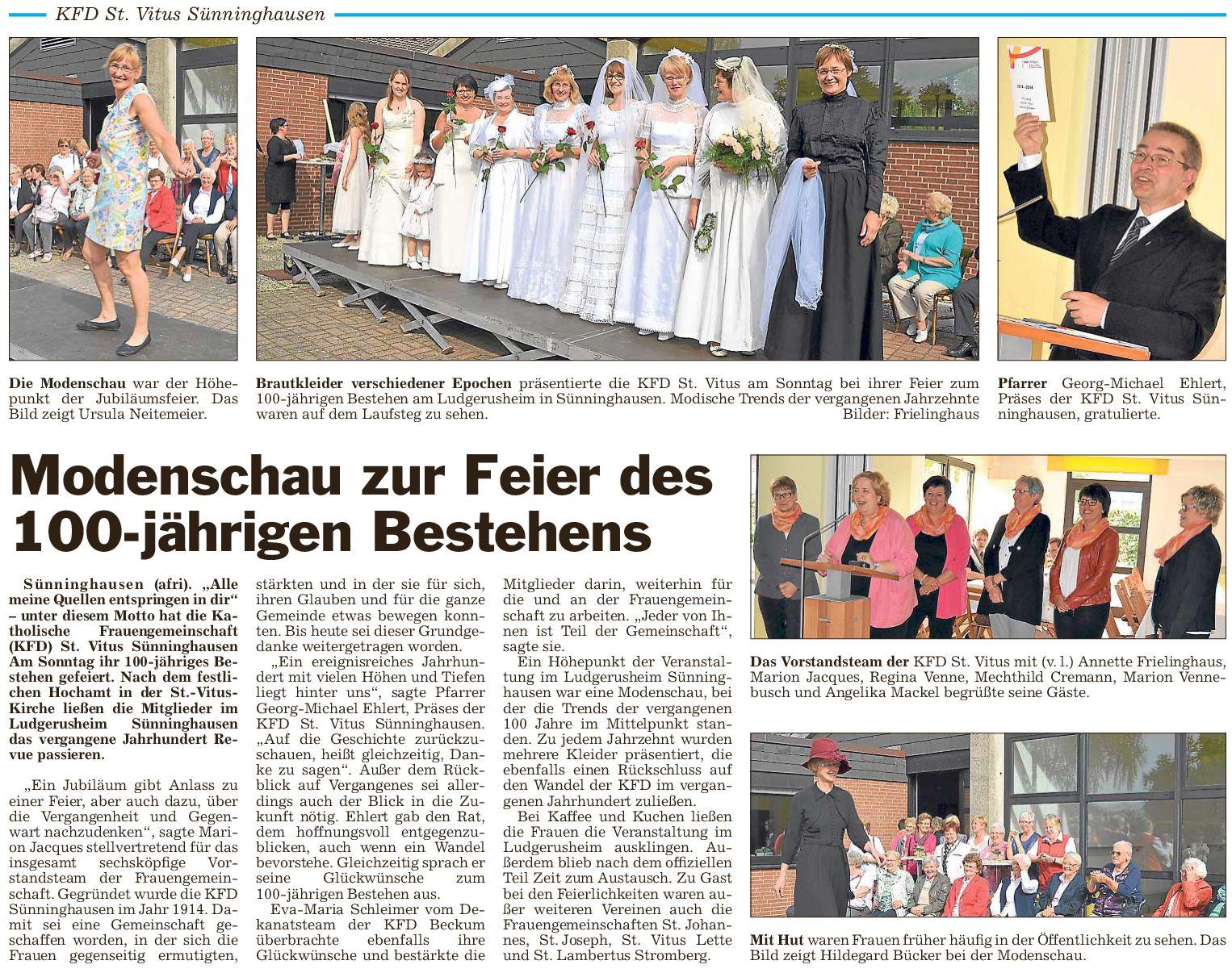 100 Jahre kfd St. Vitus Sünninghausen