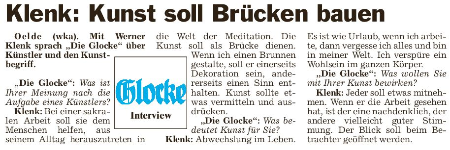 Werner Klenk - Kunst soll Brücken bauen