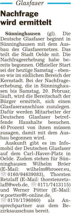 """Artikel """"Die Glocke"""" vom 09. Januar 2021 zum Thema Glasfaserbefragung Sünninghausen"""