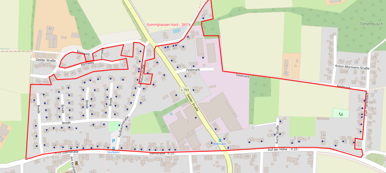 Nördlicher Polygon (Bezirk) der Glasfaserbefragung in Sünninghausen